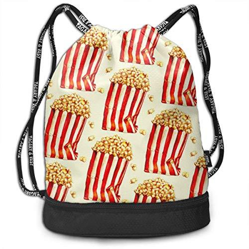 Zaini e borse,Zaini casual,Borse da palestra, Gym Drawstring Sports Bag Simple Quick Dry Bundle Backpack Popcorn