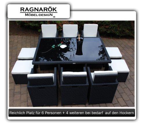 Gartenmöbel PolyRattan Essgruppe Tisch mit 6 Stühlen & 4 Hocker DEUTSCHE MARKE — EIGNENE PRODUKTION Garten Möbel incl. Glas und Sitzkissen Ragnarök-Möbeldesign - 2