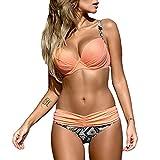 DELEY Frauen Push Up Sommer Strand Süßigkeit Farbe Triangel Brasilianische Bikini Beachwear Bademode Rosa Garnelen XL