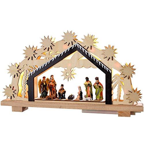 WeRChristmas 24cm-presepe in legno, decorazione di Natale illuminato con 8LED bianco caldo
