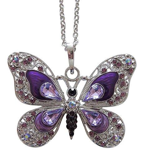 Générique Collar, colgante diseño mariposa violeta predominante cristal austríaco y acero.