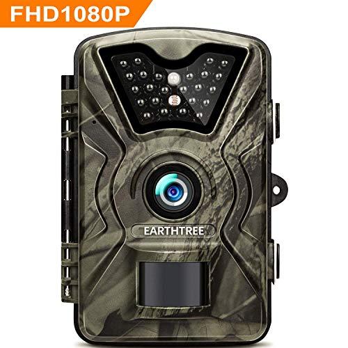 """EARTHTREE Wildkamera,14MP 1080P Full HD Jagdkamera Low Glow Infrarot 20m Nachtsicht Überwachungskamera 2.4\"""" LCD IP66 Wasserdichte Nachtsichtkamera Wildkamera Fotofalle"""