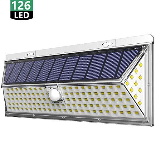 Solarlampen für Außen, QWOO 126 LED Solarleuchte mit Bewegungsmelder Solar Beleuchtung Aktualisierte Version-2200mAh LED 270° Solar Wasserdichte Wandleuchte 3 Modi Solarlicht für Garten