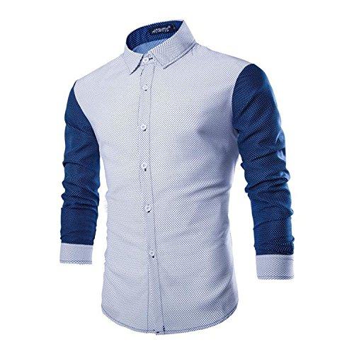 Rrimin Mens Cotton Blend Long Sleeve Shirt Casual Slim Fit Stylish Dress Shirts Tops (White, X-Large)