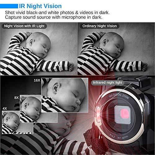 Caméscope 4K Vlogging Caméra Vidéo Ultra HD Wi-Fi Appareil Photo Numérique 48MP 3'' écran Tactile Vision Nocturne 16X Enregistreur de Zoom N... 25