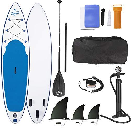 EASYmaxx SUP aufblasbares Stand-Up Paddle-Board, Inklusive Pumpe, Tragetasche & Alu-Paddel   3 Finnen für höchste Stabilität   Ideal für Einsteiger und Fortgeschrittene, Weiss Blau, 320x76x15cm