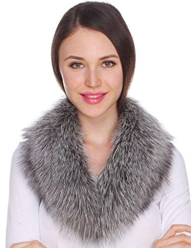 Ferand Collo di Pelliccia di Volpe Autentica per Donna per Parka Giacche e Cappotti Argento,80 cm