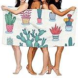 Toallas Decoradas Diseño De Macetas y Cactus Coloridos