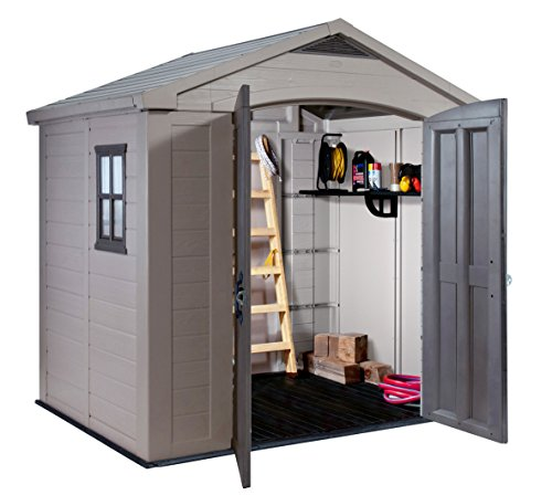 If the 6ft x 4ft Keter Factor shed was not quite big enough for you, then this 8ft x 6ft model which gives you that little more extra room for storing more items such as bikes, paddling pool, cordless garden blower, pretty much anything you need to store in the garden.