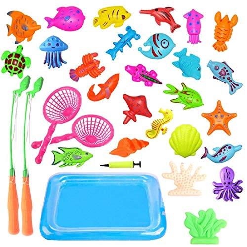 JIM'S STORE Giocattolo da Pesca 32 Pezzi Bagno Giocattolo Bambino Giochi da Pesca Magnetico Educativi Giocattolo Divertente all'Aperto Regali Ottimi per Bambini Piccoli