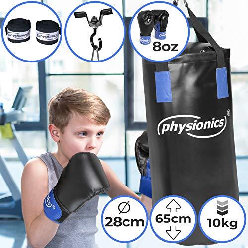 Sacco da Boxe per Bambini | Ø28 cm, Altezza 65 cm, 10 kg, con i Guantoni da Box per L'allenamento...