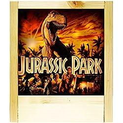 Lámpara de madera natural Jurassic Park