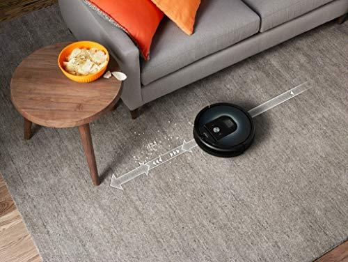 51%2BdkwD-FVL [Bon Plan Neato] iRobot Roomba 960, aspirateur robot avec forte puissance d'aspiration, 2 brosses anti-emmêlement, idéal pour animaux, capteurs de poussière, parfait sur tapis et sols, connecté, programmable via app