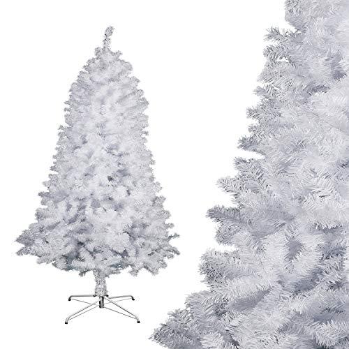 Albero di Natale Bianco Verde, Albero di Natale Artificiale in PVC Ignifugodi in Diverse Misure ( Bianco, 2,1 Metri )