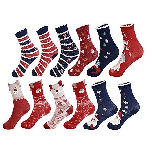 Vertvie 12 Paar Unisex Weihnachtssocken Christmas Socks Weihnachtsmotiv Weihnachten Festlicher Baumwolle Socken Mix Design für Damen und Herren (One Size, 12er Pack02)