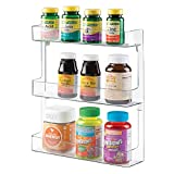 mDesign Estantería de pared para organizar medicamentos - Repisa con 3 estantes en plástico estable - Baldas para baño para guardar medicinas, vitaminas y suplementos deportivos - transparente