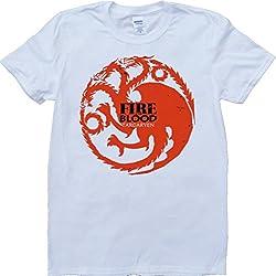 Juego Of Tronos Casa Targaryen Fure Y Sangre Blanco Por Encargo T-Shirt - Large