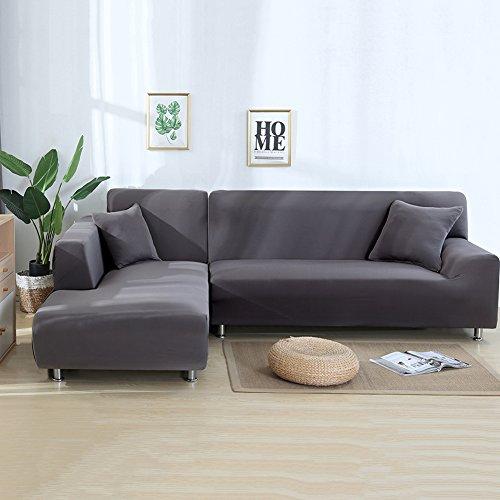 ele ELEOPTION - Copridivano elasticizzato, set da 2, 3 posti, per divano a L 2 federe. grigio chiaro