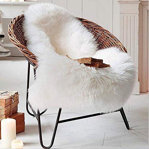KAIHONG, Tappeto in ecopelliccia di pecora 60x 90cm, finta pelle di agnello, di qualità, pelo lungo, tappetino scendiletto o per divano, bianco, 50 x 80 cm