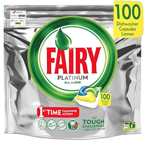 Fairy Platinum - Pastiglie per lavastoviglie All-In-One 100 Capsule Limone Lemon pastiglie per...