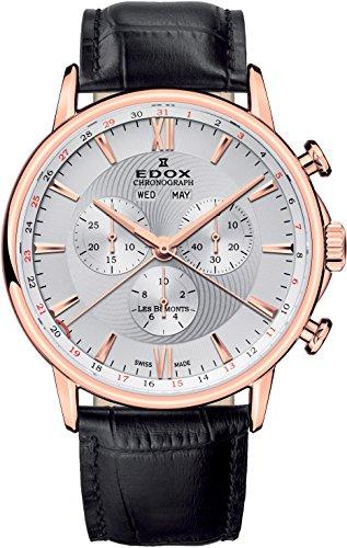 EDOX Herren-Armbanduhr Les Bémonts Chronograph Vollkalender Analog Quarz 10501 37R AIR