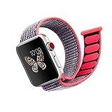 JAMMYLIZARD | Apple Watch Strap Cinturino In Nylon Intrecciato Con Velcro Flessibile 42 millimetri, Rosa Fluo