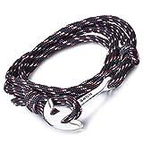 """Infinite U Bracelet tressé multi-rangs multicolore """"Hope"""" l'ancre de navire en Alliage et Nylon corde de coton la couleur de noir pour femme homme"""