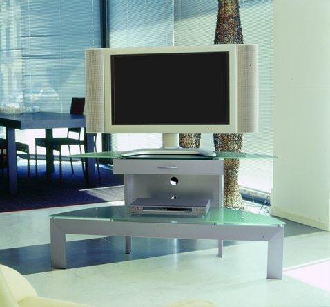 mobile porta tv Ellisse 120 con cassetto realizzato in alluminio satinato spazzolato a mano piano e...