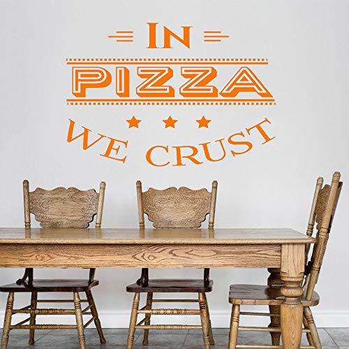 WSLIUXU Pizza Quote Pizza Adesivo murale Vinile Ristorante italiano Accessori da parete per cucina Camera rimovibile Adesivo murale Giardino domestico Adesivo da parete Viola 32x42cm