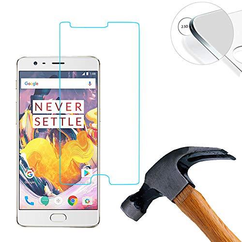 Lusee 3 Piezas Protector de Pantalla para OnePlus 3T 5.5 Cristal Vidrio Templado [Dureza 9H] [Alta Definición] Resistente a los arañazos/Anti-Huellas 2.5D Borde Curvo Protector de Pantalla