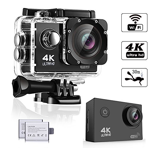 Action Kamera, Weyty Sports Kamera 4K Ultra HD Unterwasserkamera 16MP 170° Weitwinkel WiFi Fernbedienung Action cam mit 2 wiederaufladbare batterien (1350mAh) und kostenlose Accessoires