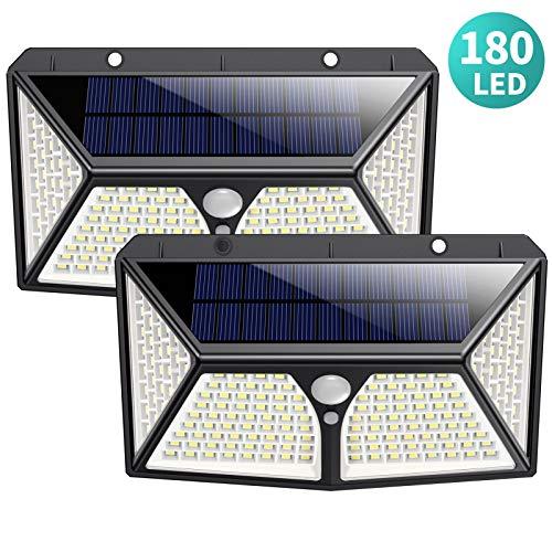 180 LED Luci Solari Esterno, HETP 【2019 Versione più Alta】Luce Solare di Sicurezza con Sensore...