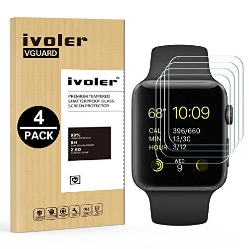 iVoler [4 Pack] Pellicola Vetro Temperato per Apple Watch 42mm Series 3 / Series 2 / Series 1 [Garanzia a Vita], Pellicola Protettiva Protezione per Schermo per Apple Watch 42mm Series 3/2 / 2