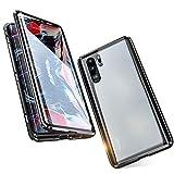 Jonwelsy Cover per Huawei P30 (6,1 Pollice), 360 Gradi Anteriore e Posteriore Vetro Temperato Trasparente Custodia, Tecnologia di Adsorbimento Magnetico Bumper Metallo (Nero)