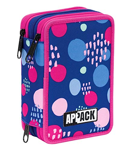 Astuccio 3 Zip Appack Hashtag, Viola, Con materiale scolastico: 18 pennarelli e 18 pastelli Giotto,...