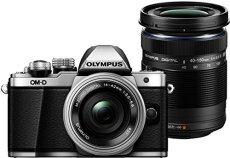 """Olympus E-M10 Mark-II - Cámara EVIL de 16.1 MP (pantalla 3"""", estabilizador óptico, vídeo Full HD, WiFi) plata y negro - kit cuerpo cámara con M-Zuiko 14-42 mm Pancake y Double Zoom 40-150 mm IIR"""