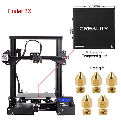 Comgrow Creality 3D DIY Stampante 3D Ender-3X with Lastra di Vetro Temperato 220 * 220 * 250...