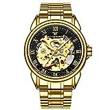 amstt Hombre Men Oro Automatic Mechanical Stainless Steel Negro Golden Reloj de pulsera