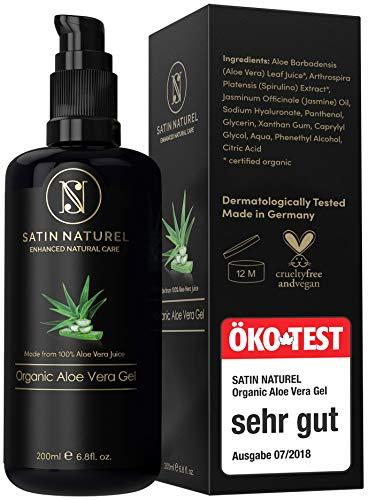 Aloe Vera Gel BIO 100{7b11d2f66c0f41ed9e2fa00354af50faa5c97b5a35e4eba1462f4502f5a9abde} - ÖKO Test SEHR GUT - Vegan mit Hyaluronsäure, Bio Spirulina, Jasmin & Panthenol - Als After Sun & Ersatz für Gesichtscreme Damen - Satin Naturel Naturkosmetik Made in Germany