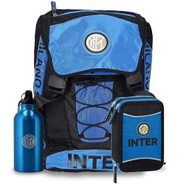 CARTA IN Schoolpack Zaino Scuola Inter Estensibile con Borraccia+ Astuccio 3 Zip Completo