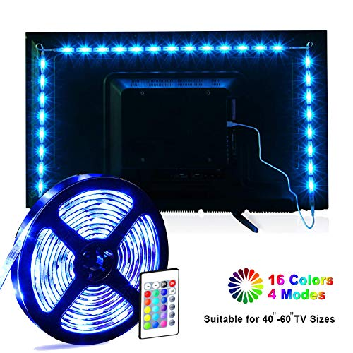 Striscia LED, MILIER USB LED TV Retroilluminazione Kit, Luci LED Nastro 2m per 40-60 pollici TV 16...