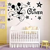 "Mickey Mouse Wall Sticker nome personalizzato adesivi in vinile nursery Room Wall Art Kids, Black, -Large -SIZE 120cm x 60cm (48"" x 24"")"