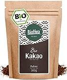 Bio-Kakao Pulver (300g) | 100% reines Kakaopulver | stark entölt (11% Fett) | im wiederverschließbaren Frischebeutel I ohne Zusatzstoffe - hochwertigste Biotiva® Qualität