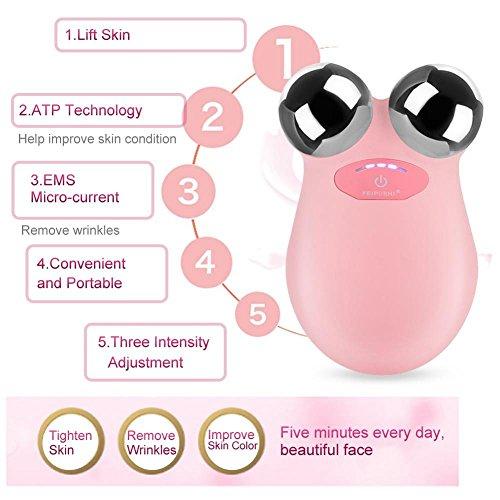 Elektrische Micro-current Vibration Y Shape 3D Roller Face Massager Lifting Tighten Device, Facelift Massagegerät Faltenschwellung Entfernung Hautpflege Gerät - 2