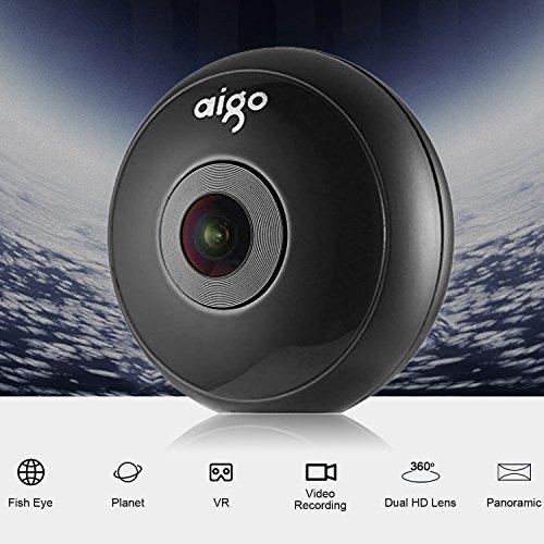 Cámara 360, Aigo Cámara VR 360 Con Cuatro Efectos de Lente y USB tipo C y Micro USB para Acampada/ Caza/ Conciertos/ Deportes/ Turísticas etc.