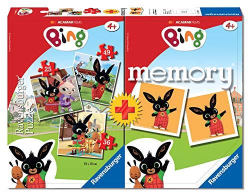 Ravensburger 20518 - Bing Multipack Memory con 3 Puzzle, Gioco Educativo