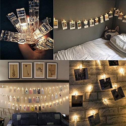 Catena di luci natalizie con 20 clip per foto, illuminazione d'atmosfera, luce fissa a forma di...