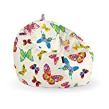 Happers Pelota Puff Mariposas, Tela, Multicolor, 60x60x60 cm