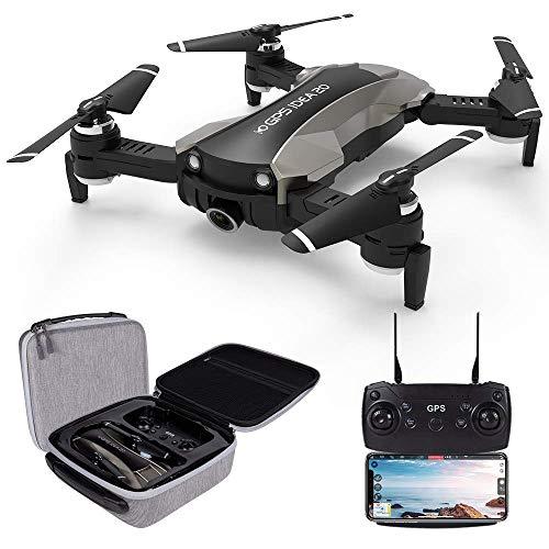 le-idea 20 - Drone GPS con videocamera 4K, Trasmissione Live FPV WiFi 5GHz, Fotocamera 120 °FOV Gimbal Elettronica a 1 ASSE, Drone RC quadricottero Pieghevole per Principianti, Borsetta