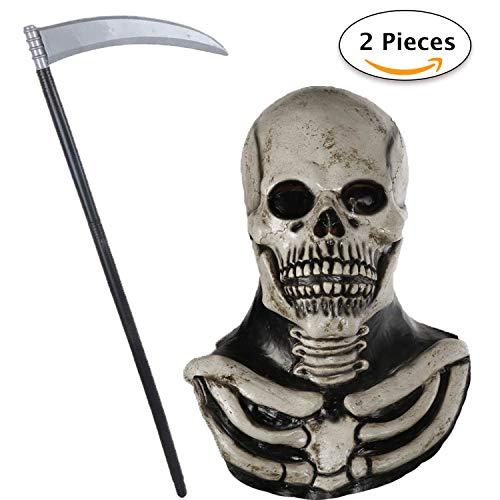 Jonami Máscara Halloween Terror de Látex, Craneo Esqueleto, Payaso Asesino con Cabello, Diablo Demonio Zombie, Traje De Lujo con Cuchillo La Guadaña Espeluznante para Disfraz Adulto de Fiesta Horror